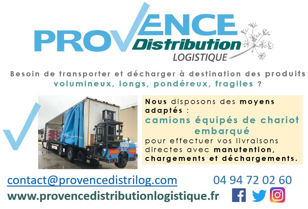 Provence Distribution Logistique dispose de camions avec chariot embarqué