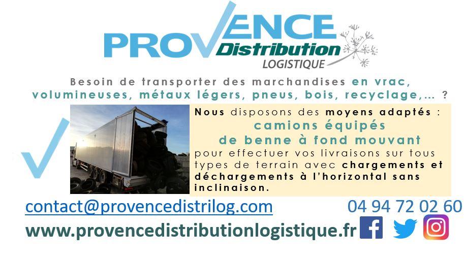 Provence Distribution Logistique dispose de camions avec benne à fond mouvant